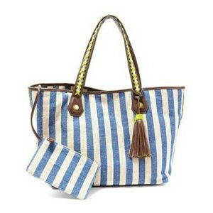 BIG BUDDHA New Striped Extra Large Beach Bag Tote